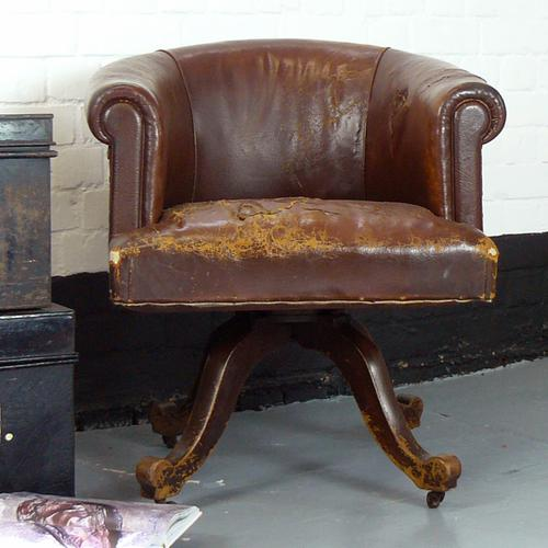 Leather Swivel Tub Desk Chair c.1920 (1 of 1)