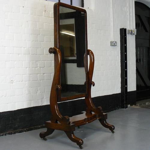 English Mid Victorian Cheval Dressing Mirror in Attractive Original Condition (1 of 1)