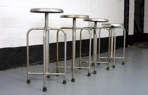 4 Vintage 1950s Swivel Medical Stools – Set 2 (1 of 1)