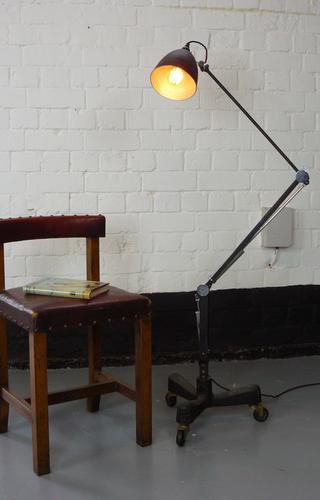 Good Vintage Black Floor Standing Industrial Lamp by Hinders of London (1 of 1)