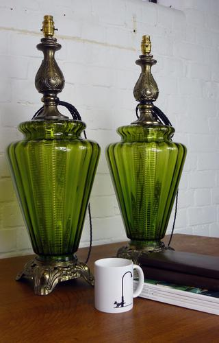 Pair of Large Vintage Glass & Figured Ormolu Table Lamps (1 of 1)