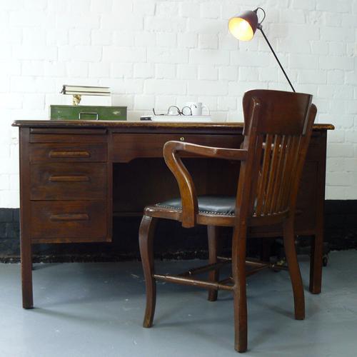 1940s Vintage Oak Twin Pedestal Desk in Good Historic Order (1 of 1)