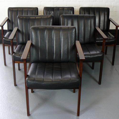 Set of Six Black Leather Chairs by Antocks Lairn Splendid Vintage Condition (1 of 1)