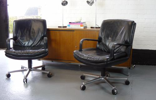 Vintage Black Leather Geiger Executive Chair (1 of 1)