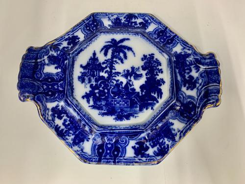 Antique Adams Flow Blue Pottery Tea Pot Stand c.1890 (1 of 5)