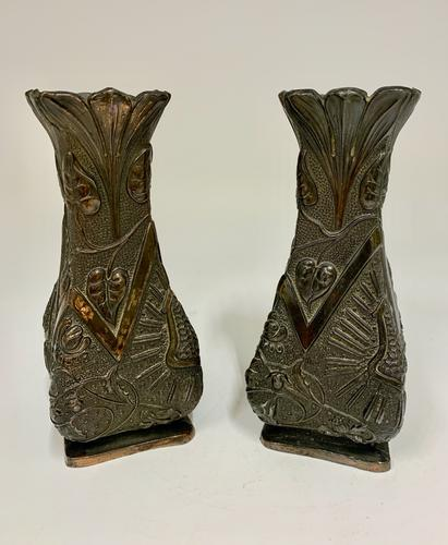 Pair of Oriental Art Nouveau Patinated Metal Vases c.1900 (1 of 8)