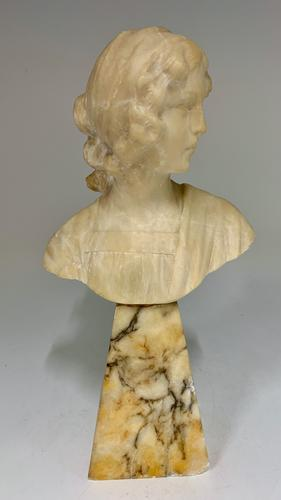 Antique Alabaster Bust Young Woman c.1910 (1 of 7)