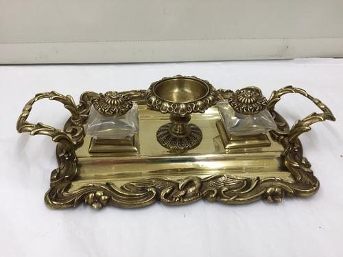 Antique Brass Partners Inkwell Desk Companion c.1865 (1 of 1)