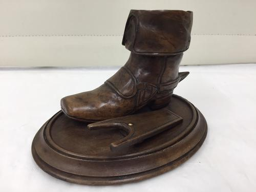 Antique Beechwood Carved Treen Boot & Boot Jack c.1900 (1 of 1)