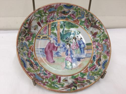 Antique Oriental Porcelain Famille Rose Saucer Dish c.1810 (1 of 1)