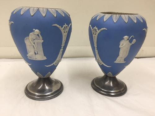 Antique Pair of Jasperware Ceramic Vases with Silver Plated Bases c.1870 (1 of 1)