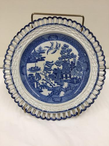 Antique Pearlware Reticulated Willow Pattern Plate c.1815 (1 of 1)