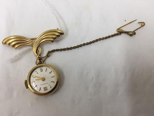 Vintage Costume Jewellery Brooch, Fob Watch (1 of 1)