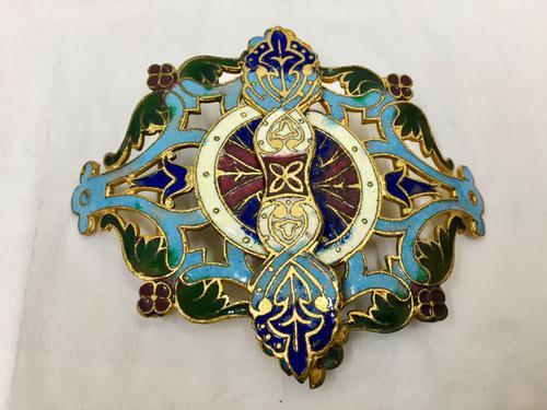Antique Persian Enamel Belt Clasp c.1900 (1 of 4)