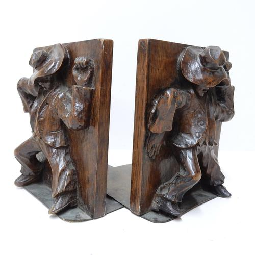 Pair of Carved Oak Bookends (1 of 1)