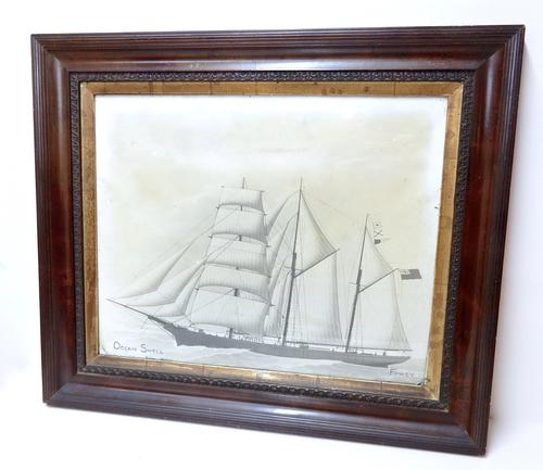Framed Photogravure of Sailing Ship (1 of 1)
