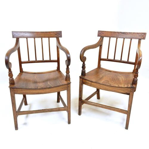 Pair of East Anglian Open Armchairs (1 of 1)