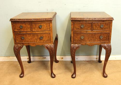Pair of Burr Walnut Bedside Tables C.1930 (1 of 1)