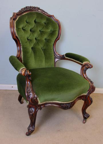 Antique Victorian Walnut Armchair / Button Back Chair c.1860 (1 of 1)