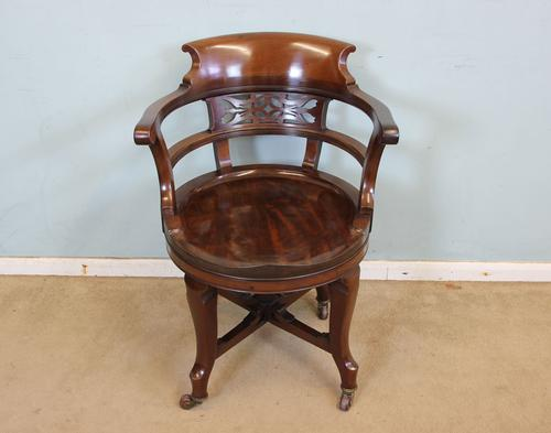 Antique Mahogany Swivel Desk Chair (1 of 1)