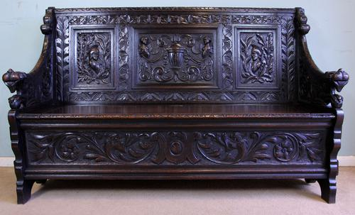 Antique Victorian Carved Oak Hall Seat Settle Monks Bench (1 of 1)