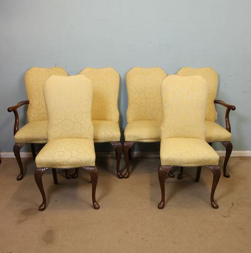 Set of Six Antique Queen Anne Style Walnut Dining Chairs (1 of 1)