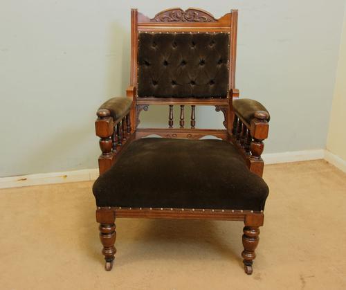 Antique Gentlemans Victorian Walnut Button Back Chair (1 of 1)