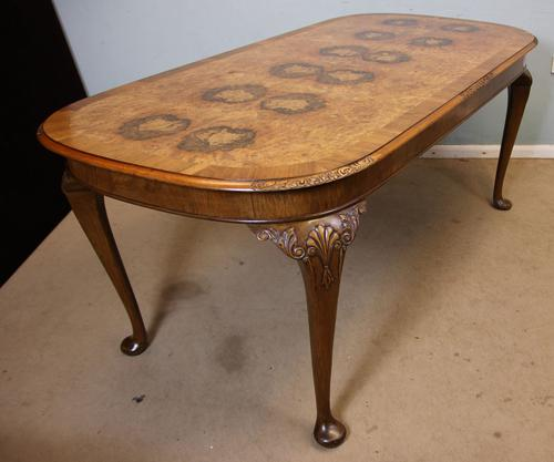 Antique Burr Walnut Queen Anne Style Dining Table (1 of 1)