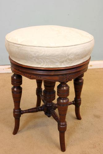Antique Mahogany Stool / Victorian Dressing Table Stool (1 of 1)