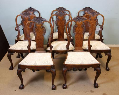 Antique Walnut Set of Eight Dining Chairs (1 of 1)