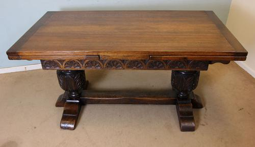 Large Oak Refectory Draw Leaf Farmhouse Dining Table C.1920 (1 of 1)