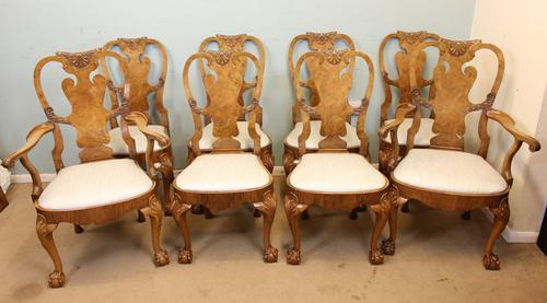 Quality Set of 8 Queen Anne Style Walnut Dining Chairs C.1920 (1 of 1)