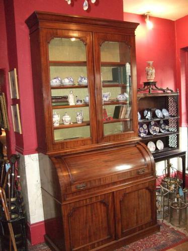 19th Century Mahogany Cylinder Bureau Bookcase (1 of 5)