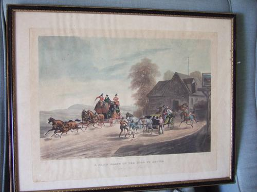 """Pair of 19th Century Aquatints: """"One Mile From Gretna"""" & """"False Alarm On the Road To Gretna"""" After Charles B Newhouse (1 of 7)"""