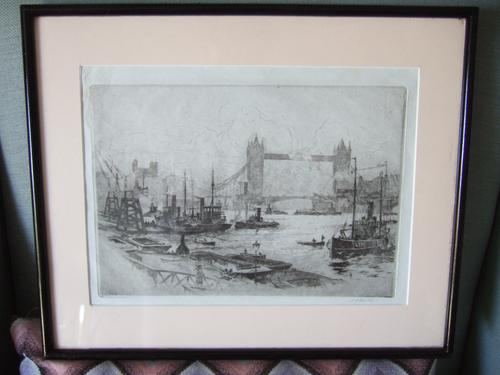 Stanley Charles Rowles (1877-1966):  Etching of Tower Bridge & the Thames Ca 1920 (1 of 3)