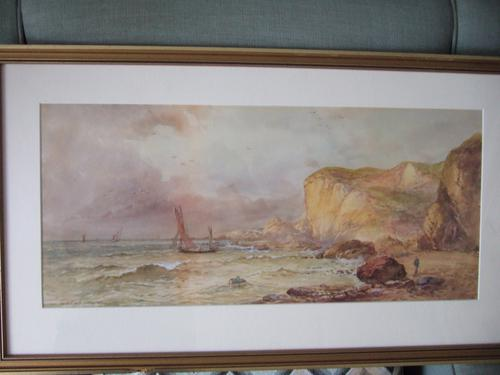 William Henry Earp Watercolour of a Coastal Landscape with Sandstone Cliffs (1 of 5)