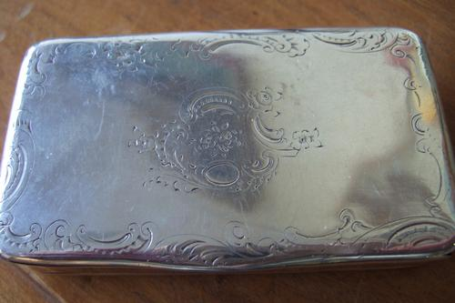 French 19th Century Hallmarked Silver Snuff Box with Engraved Design To Lid & Gilded Interior (1 of 1)