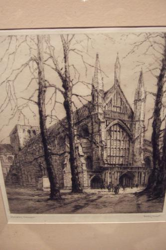 Dorothy Sweet - Etching of Winchester Cathedral Ca 1920s (1 of 3)