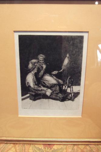 Hubert Von Herkomer Etching of Old Woman Spinning (1 of 4)