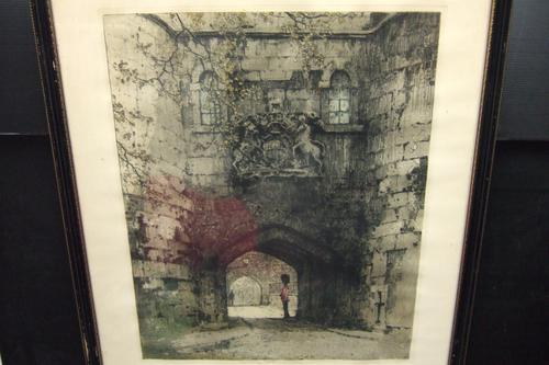 Luigi Kasimir 1881-1962  Signed Coloured Etching of Tower of London Dated 1913 (1 of 1)