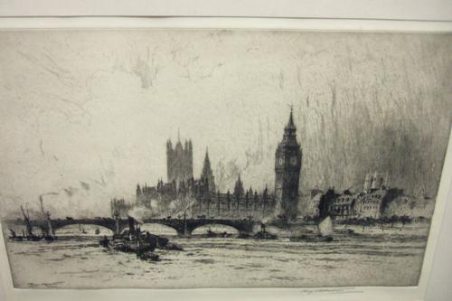 Percy Robertson 1868-1934 Etching of Westminster, London,  From the Thames (1 of 1)