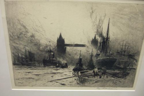 Percy Robertson Etching of Tower Bridge, London, From the Thames (1 of 1)