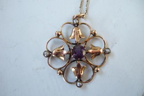Edwardian 9ct Gold Antique Pendant with Central Amethyst On Fine Gold Chain (1 of 1)