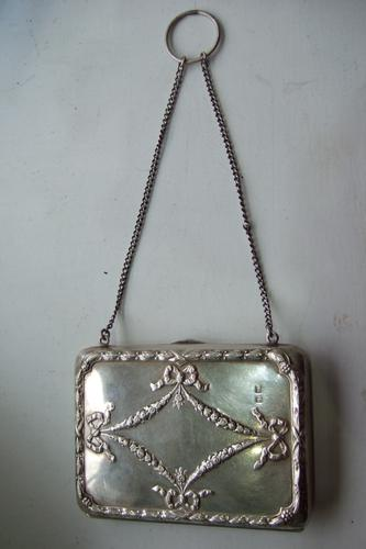 Edwardian Silver Purse with Leather Interior 1907 (1 of 1)