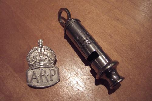 Silver World War 2 Arp Brooch & Whistle (1 of 1)