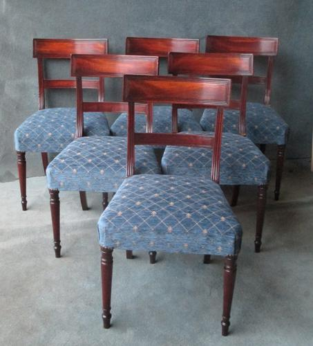 Set of 6 Late Georgian Bar Back Dining Chairs C.1825 (1 of 1)