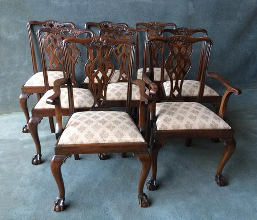 Set of 8 Mahogany Chippendale Style Chairs c.1890 (1 of 1)
