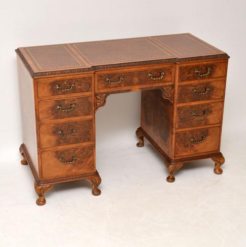 Antique Burr Walnut Leather Top Desk (1 of 12)