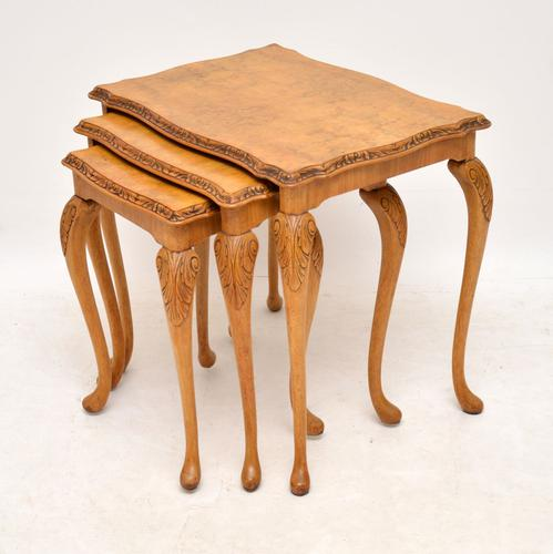 Queen Anne Style Walnut Nest of Tables c.1930 (1 of 8)