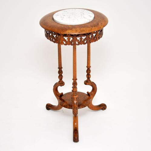 Antique Victorian Burr Walnut & Marble Side Table (1 of 9)